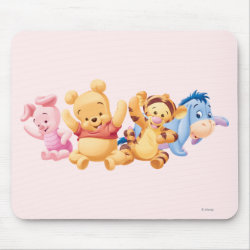 Mousepad with Super Cute Baby Winnie the Pooh & Friends design