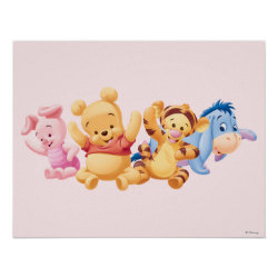 Matte Poster with Super Cute Baby Winnie the Pooh & Friends design
