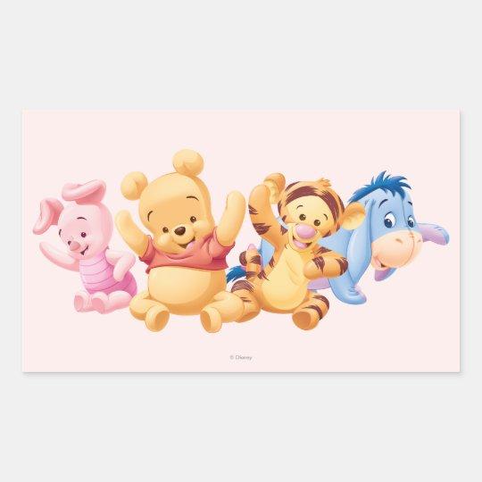 baby winnie the pooh  friends rectangular sticker