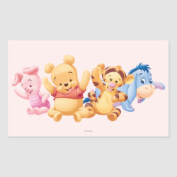 Rectangle Sticker with Super Cute Baby Winnie the Pooh & Friends design