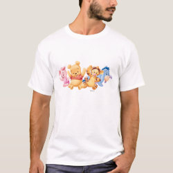 Men's Basic T-Shirt with Super Cute Baby Winnie the Pooh & Friends design