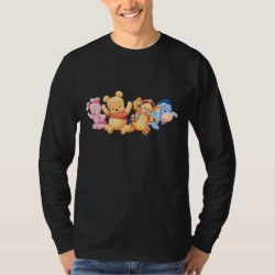 Men's Basic Long Sleeve T-Shirt with Super Cute Baby Winnie the Pooh & Friends design