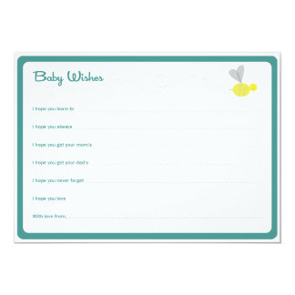Baby Wishes Bee Aqua 5x7 Paper Invitation Card