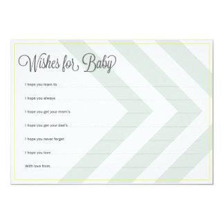 Baby Wishes Chevron Yellow Trim 5x7 Paper Invitation Card