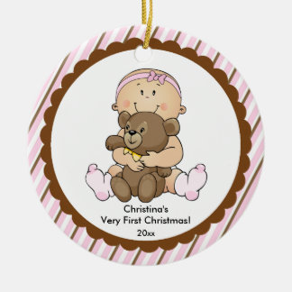 Baby with Bear Baby's First Christmas Ornament