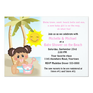 Baby with Bucket Beach Baby Shower 5x7 Paper Invitation Card