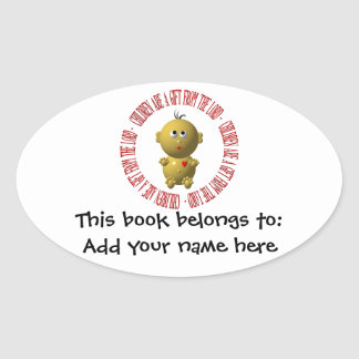 """Baby with """"Children are a gift from The Lord"""" Oval Sticker"""
