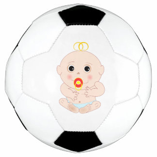 Baby with pacifier cartoon soccer ball
