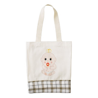 Baby with pacifier cartoon zazzle HEART tote bag
