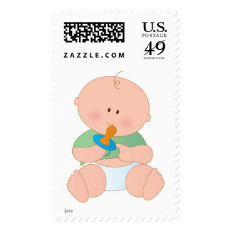 Baby with Pacifier Postage Stamps