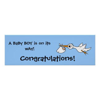 Baby with stork | Baby Shower Banner Poster
