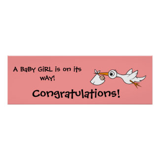 Baby with stork   Baby Shower Banner Poster