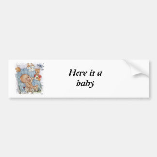 Baby with toys car bumper sticker