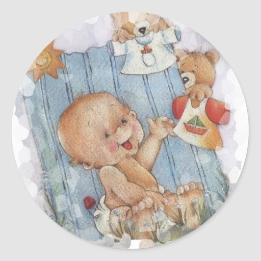 Baby with toys stickers