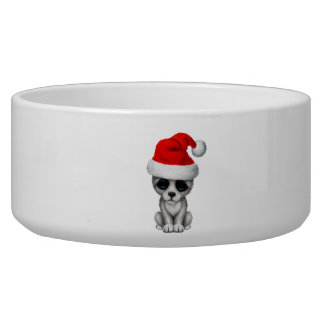 Baby Wolf Cub Wearing a Santa Hat Bowl