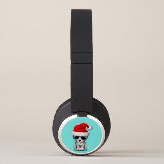 Baby Wolf Cub Wearing a Santa Hat Headphones