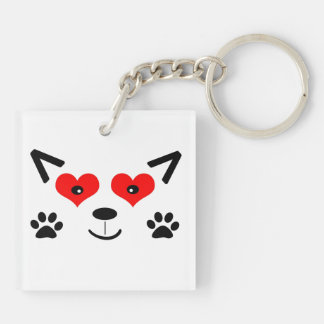 Baby Wolf Double-Sided Square Acrylic Keychain