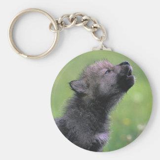 Baby Wolf Howls Basic Round Button Keychain
