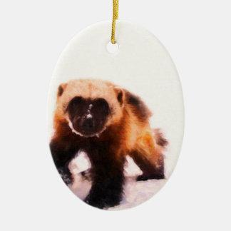 baby wolverine.jpg ceramic ornament