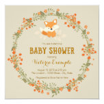 Baby Woodland Fox Baby Shower 5.25x5.25 Square Paper Invitation Card