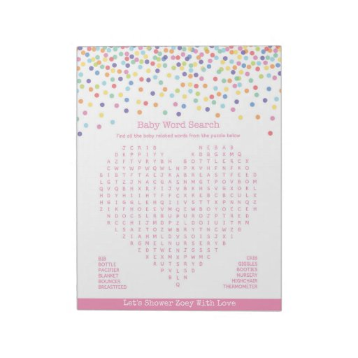 Baby Word Search Confetti Baby Shower Game Notepad Zazzle