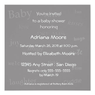 Baby Words Baby Shower Invitation-gray 5.25x5.25 Square Paper Invitation Card