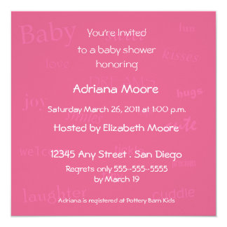 Baby Words Baby Shower Invitation-honeysuckle 5.25x5.25 Square Paper Invitation Card