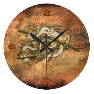 Baby Wyverns (Dragons) Fantasy Grunge Art Large Clock