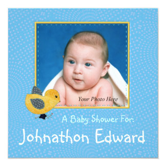 """Baby Yellow Chick Blue Photo Baby Shower 5.25"""" Square Invitation Card"""