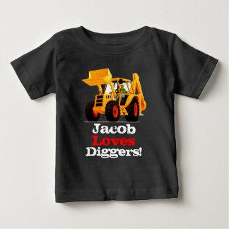Baby Yellow Digger Custom Name Truck Infant T-shirt