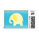 Baby Yellow Elephant on Blue Postage