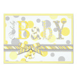 Baby Yellow Gray Dots Baby Shower 5x7 Paper Invitation Card