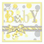 Baby Yellow Gray Dots Baby Shower Invitation