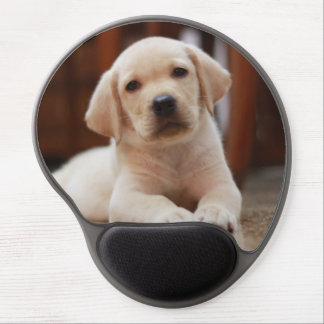 Baby Yellow Labrador Puppy Dog laying on Belly Gel Mouse Pad