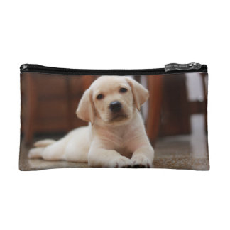 Baby Yellow Labrador Puppy Dog laying on Belly Makeup Bag