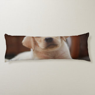 Baby Yellow Labrador Puppy Dog laying on Belly Body Pillow