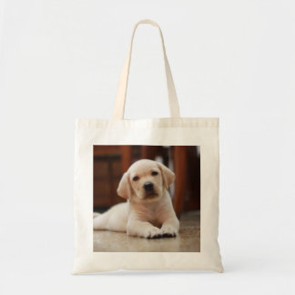 Baby Yellow Labrador Puppy Dog laying on Belly Tote Bag