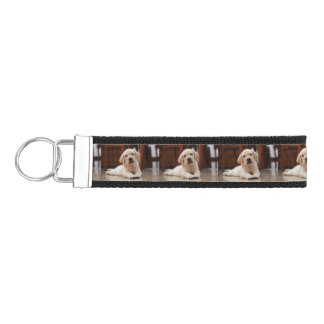 Baby Yellow Labrador Puppy Dog laying on Belly Wrist Keychain