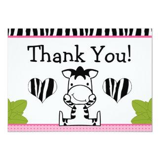 Baby Zebra Baby Girl Thank You Card Custom Invitation