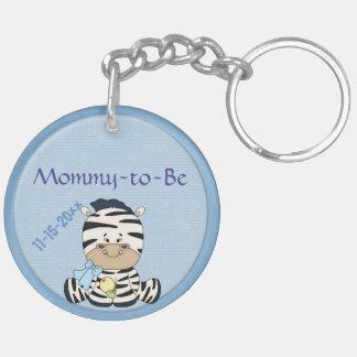 Baby Zebra, Customizable Baby Shower & Mommy to Be Keychain