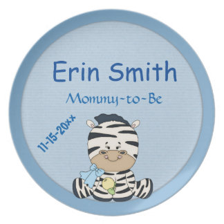 Baby Zebra, Customizable Mommy to be & Baby Shower Dinner Plate