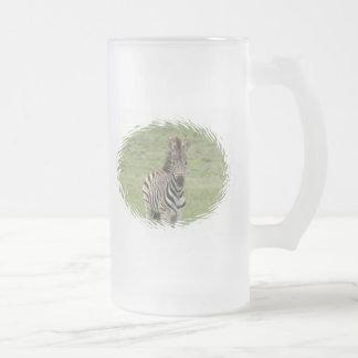 Baby Zebra Frosted Beer Mug