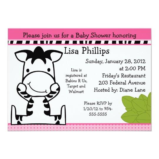 baby zebra girl baby shower invitation zazzlecom