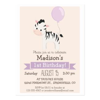 Baby Zebra Girl's Birthday Party Invitation Postcard