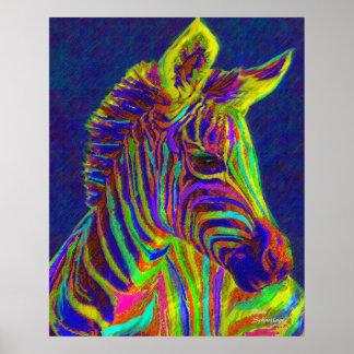 baby zebra in crayon colors print