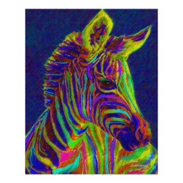 Toddler & Baby themed baby zebra in crayon colors poster