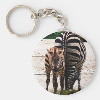 Baby Zebra Basic Round Button Keychain
