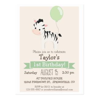 Baby Zebra Kid's Birthday Party Invitation Postcard