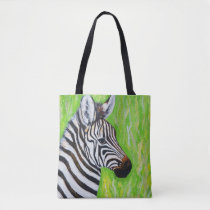 Baby Zebra Painting Tote Bag