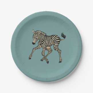 baby zebra paper plate